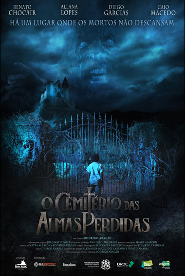 Boy stands outside the gates of the cemetery of Lost Souls  with a church and a possessed person in the sky.