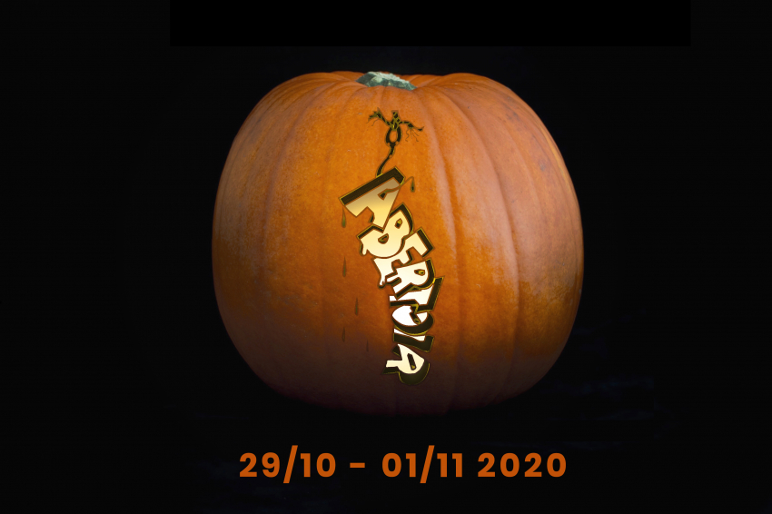 A pumpkin, digitally carved with the Abertoir logo, and the dates 29/01-01/11 2020.