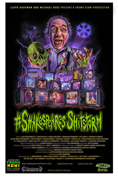 Lloyd Kaufman holding a skull with green slime dripping off over a bank of televisions showing characters and scenes from the film.